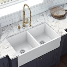 "Load image into Gallery viewer, Ruvati 33"" x 18"" Fireclay Farmhouse Apron-Front Kitchen Sink Double Bowl - White - RVL2311WH"