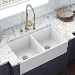 "Ruvati 33"" x 18"" Fireclay Farmhouse Apron-Front Kitchen Sink Double Bowl - White - RVL2311WH"