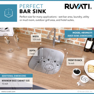 "Ruvati 12"" x 18"" Undermount 16 Gauge Stainless Steel Bar Prep Sink - RVM4111"