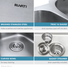 "Load image into Gallery viewer, Ruvati 12"" x 18"" Undermount 16 Gauge Stainless Steel Bar Prep Sink - RVM4111"