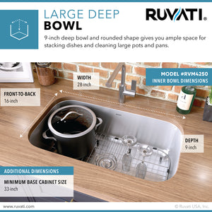 "Ruvati 30"" Undermount 16 Gauge Stainless Steel Kitchen Sink Single Bowl - RVM4250"