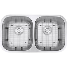 "Load image into Gallery viewer, Ruvati 32"" Undermount 50/50 Double Bowl 16 Gauge Stainless Steel Kitchen Sink - RVM4300"