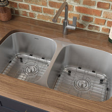 "Load image into Gallery viewer, Ruvati 29"" Undermount 50/50 Double Bowl 16 Gauge Stainless Steel Kitchen Sink - RVM4301"