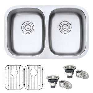 "Ruvati 29"" Undermount 50/50 Double Bowl 16 Gauge Stainless Steel Kitchen Sink - RVM4301"