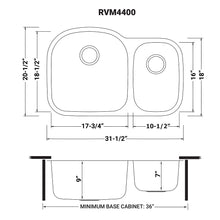 "Load image into Gallery viewer, Ruvati 32"" Undermount 60/40 Double Bowl 16 Gauge Stainless Steel Kitchen Sink - RVM4400"