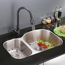 "Load image into Gallery viewer, Ruvati 32"" Undermount 40/60 Double Bowl 16 Gauge Stainless Steel Kitchen Sink - RVM4405"
