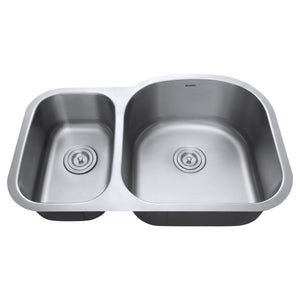 "Ruvati 32"" Undermount 40/60 Double Bowl 16 Gauge Stainless Steel Kitchen Sink - RVM4405"