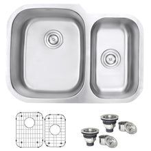 "Load image into Gallery viewer, Ruvati 29"" Undermount 60/40 Double Bowl 16 Gauge Stainless Steel Kitchen Sink - RVM4500"