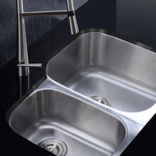 "Load image into Gallery viewer, Ruvati 29"" Undermount 40/60 Double Bowl 16 Gauge Stainless Steel Kitchen Sink - RVM4505"