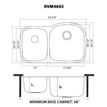 "Load image into Gallery viewer, Ruvati 34"" Undermount 40/60 Double Bowl 16 Gauge Stainless Steel Kitchen Sink - RVM4605"