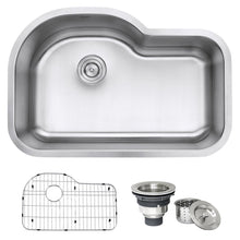 "Load image into Gallery viewer, Ruvati Undermount 32"" Kitchen Sink Stainless Steel 16 Gauge Single Bowl - RVM4700"