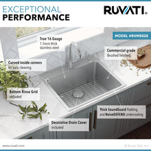 "Load image into Gallery viewer, Ruvati 25"" x 22"" Drop-in Topmount Kitchen Sink 16 Gauge Stainless Steel Single Bowl - RVM5025"