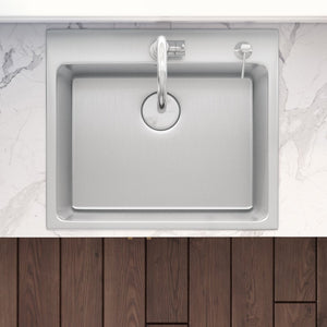 "Ruvati 25"" x 22"" Drop-in Topmount Kitchen Sink 16 Gauge Stainless Steel Single Bowl - RVM5025"