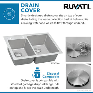 "Ruvati 33"" x 22"" Drop-In Topmount Kitchen Sink 16 Gauge Stainless Steel 60/40 Double Bowl - RVM5166"