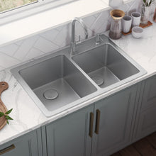 "Load image into Gallery viewer, Ruvati 33"" x 22"" Drop-In Topmount Kitchen Sink 16 Gauge Stainless Steel 60/40 Double Bowl - RVM5166"