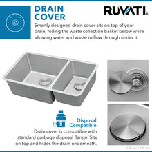 "Load image into Gallery viewer, Ruvati 32"" Undermount Kitchen Sink 70/30 Double Bowl 16 Gauge Stainless Steel - RVM5300"