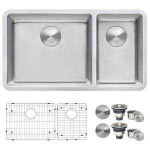 "Ruvati 32"" Undermount Kitchen Sink 70/30 Double Bowl 16 Gauge Stainless Steel - RVM5300"