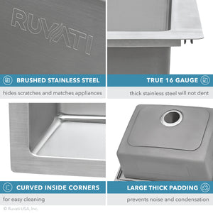 "Ruvati 23"" x 20"" Drop-In Topmount Kitchen Sink 16 Gauge Stainless Steel Single Bowl - RVM5923"