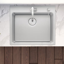 "Load image into Gallery viewer, Ruvati 23"" x 20"" Drop-In Topmount Kitchen Sink 16 Gauge Stainless Steel Single Bowl - RVM5923"