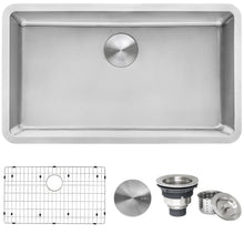 "Load image into Gallery viewer, Ruvati 31"" Undermount Kitchen Sink 16 Gauge Stainless Steel Single Bowl - RVM5931"