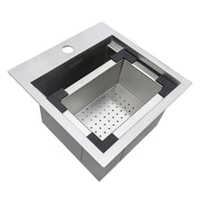 "Load image into Gallery viewer, Ruvati Outdoor BBQ Workstation Sink 15"" x 15"" Topmount Marine Grade T316 Stainless Steel RV Boat Tiny Home - RVQ5215"