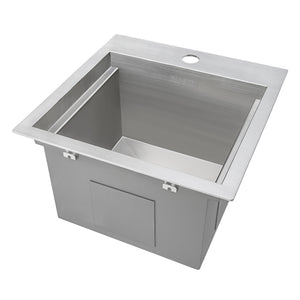 "Ruvati Outdoor BBQ Workstation Sink 15"" x 15"" Topmount Marine Grade T316 Stainless Steel RV Boat Tiny Home - RVQ5215"