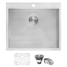 "Load image into Gallery viewer, Ruvati Topmount Laundry 22"" x 22"" x 12"" Deep Utility Sink 16 Gauge Stainless Steel - RVU6022"