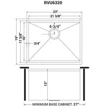 "Load image into Gallery viewer, Ruvati 23"" x 19"" x 13"" Deep Laundry Utility Workstation Sink Undermount 16 Gauge - RVU6320"