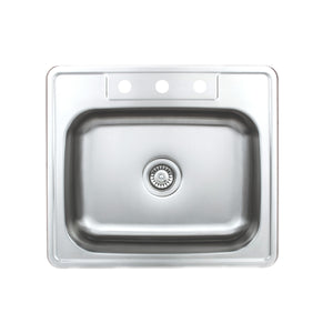 "Wells Sinkware 25"" 20-gauge Drop-In 3-hole Single Bowl ADA Compliant Stainless Steel Kitchen Sink with Strainer"