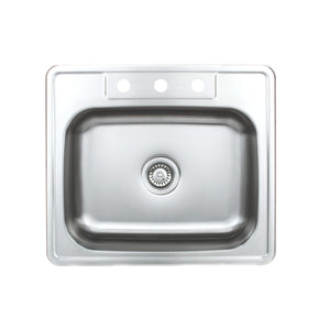 "Wells Sinkware 25"" 20-gauge Drop-In 3-hole Single Bowl ADA Compliant Stainless Steel Kitchen Sink"