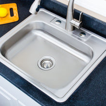 "Load image into Gallery viewer, Wells Sinkware 25"" 20-gauge Drop-In 3-hole Single Bowl ADA Compliant Stainless Steel Kitchen Sink"