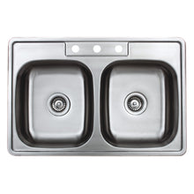 "Load image into Gallery viewer, Wells Sinkware 33"" 20-gauge Drop-in 3-hole 50/50 Double Bowl ADA Compliant Stainless Steel Kitchen Sink with Strainer SST3322-55-ADA-1"