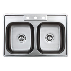 "Wells Sinkware 33"" 20-gauge Drop-in 3-hole 50/50 Double Bowl ADA Compliant Stainless Steel Kitchen Sink with Strainer SST3322-55-ADA-1"