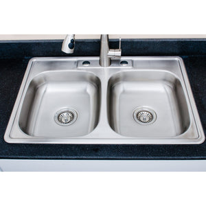 "Wells Sinkware 33"" 20-gauge Drop-In 3-hole 50/50 Double Bowl ADA Compliant Stainless Steel Kitchen Sink"