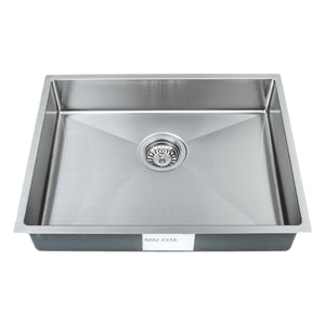 "Wells Sinkware Handcrafted 23"" x 18"" 18-gauge Undermount Single Bowl ADA Compliant Stainless Steel Kitchen Sink with Strainer"