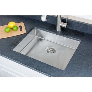 "Wells Sinkware Handcrafted 23"" x 18"" 18-gauge Undermount Single Bowl ADA Compliant Stainless Steel Kitchen Sink with Strainer SSU2318-45-1"