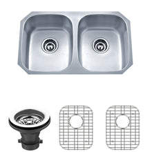 "Load image into Gallery viewer, Wells Sinkware 30"" 18-gauge Undermount 50/50 Double Bowl Stainless Steel Kitchen Sink with Grid Rack and Strainer"