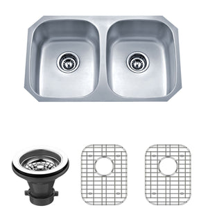 "Wells Sinkware 30"" 18-gauge Undermount 50/50 Double Bowl Stainless Steel Kitchen Sink with Grid Rack and Strainer SSU3018-88-1"