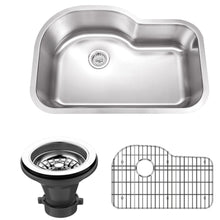 "Load image into Gallery viewer, Wells Sinkware 32"" 18-gauge Undermount Single Bowl Stainless Steel Kitchen Sink with Grid Rack and Strainer SSU3221-9-1"