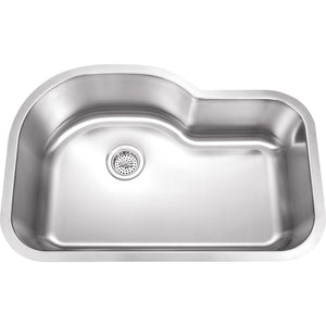 "Wells Sinkware 32"" 18-gauge Undermount Single Bowl Stainless Steel Kitchen Sink with Grid Rack and Strainer SSU3221-9-1"