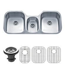 "Load image into Gallery viewer, Wells Sinkware 46"" 18-Gauge Undermount Triple Bowl Stainless Steel Kitchen Sink with Grid Racks and Strainers SSU4621-979-1"