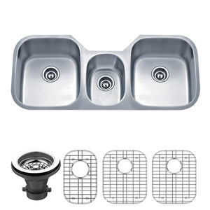 "Wells Sinkware 46"" 18-Gauge Undermount Triple Bowl Stainless Steel Kitchen Sink with Grid Racks and Strainers SSU4621-979-1"