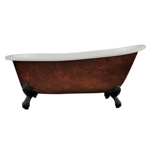 "Cambridge Plumbing Cast Iron Clawfoot Bathtub 67"" x 30"" Faux Copper Bronze Finish on Exterior w/ No Faucet Drillings and Oil Rubbed Bronze Feet ST67-NH-ORB-CB"