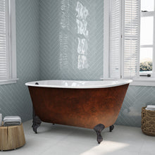 "Load image into Gallery viewer, Cambridge Plumbing Cast Iron Clawfoot Bathtub 54"" x 30"" Faux Copper Bronze Finish on Exterior with No Faucet Drillings and Oil Rubbed Bronze Feet SWED54-NH-ORB-CB"