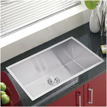 "Load image into Gallery viewer, Water Creation 30"" x 19"" Zero Radius Single Bowl Stainless Steel Hand Made Undermount Kitchen Sink With Drain and Strainer SSS-US-3019A-16"