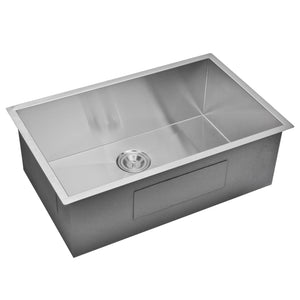 "Water Creation 30"" x 19"" Zero Radius Single Bowl Stainless Steel Hand Made Undermount Kitchen Sink With Drain and Strainer SSS-US-3019A-16"