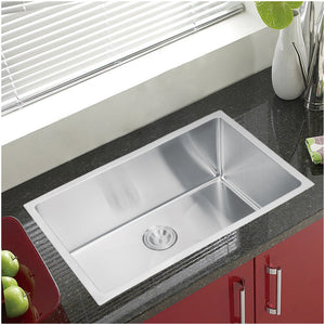 "Water Creation 30"" x 19"" 15mm Corner Radius Single Bowl Stainless Steel Hand Made Undermount Kitchen Sink SS-US-3019B-16"