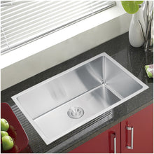 "Load image into Gallery viewer, Water Creation 30"" x 19"" 15mm Corner Radius Single Bowl Stainless Steel Hand Made Undermount Kitchen Sink With Drain and Strainer SSS-US-3019B-16"