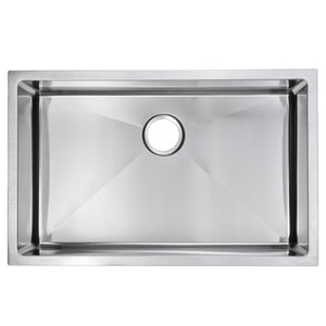"Water Creation 30"" x 19"" 15mm Corner Radius Single Bowl Stainless Steel Hand Made Undermount Kitchen Sink With Drain and Strainer SSS-US-3019B-16"