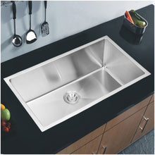 "Load image into Gallery viewer, Water Creation 32"" x 19"" 15mm Corner Radius Single Bowl Stainless Steel Hand Made Undermount Kitchen Sink SS-US-3219B-16"